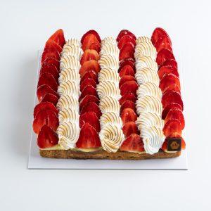 tarte carrée fraises et rhubarbe 5 personnes